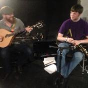 Patrick and Torrin warming up in rehersal