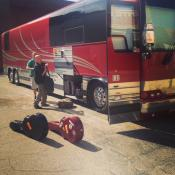 Matthew loading up the tour bus